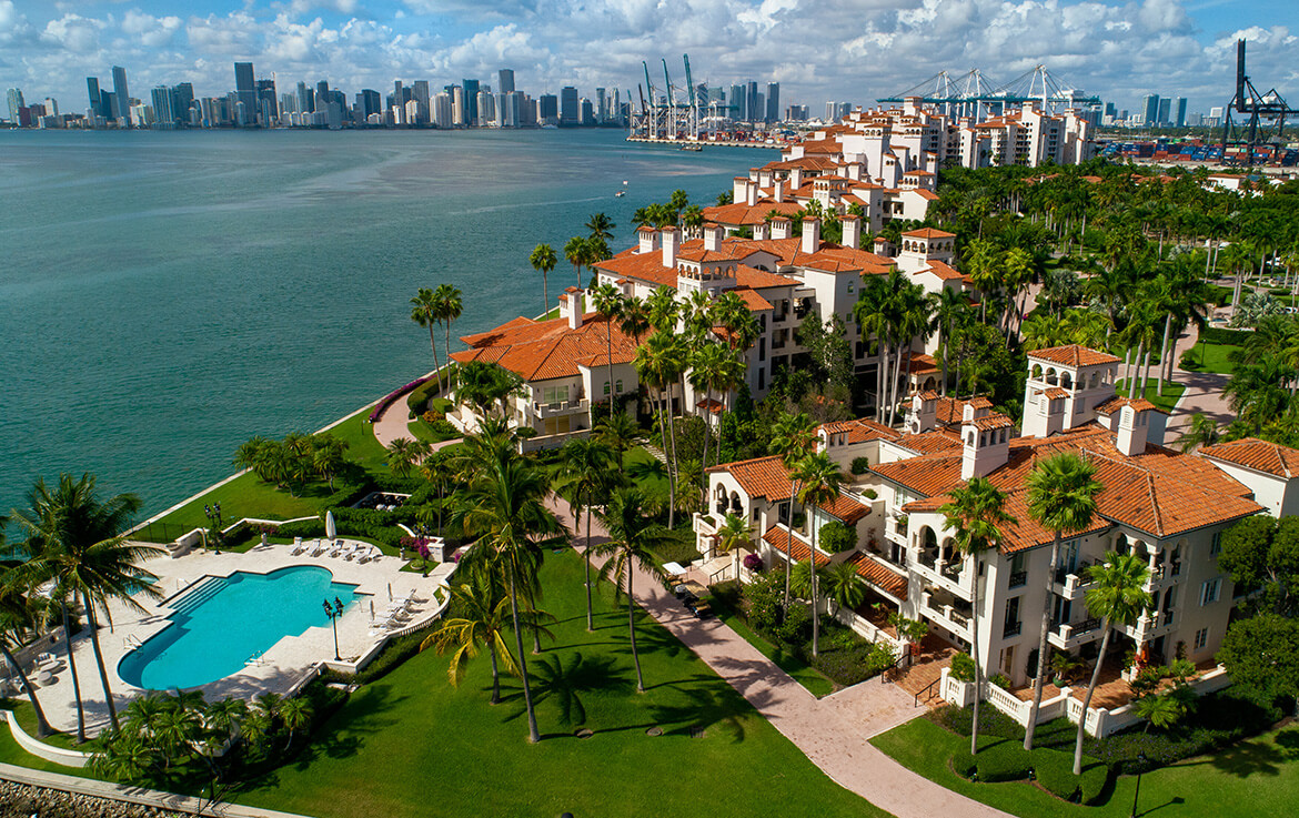 Seaside Village Fisher Island Arial view